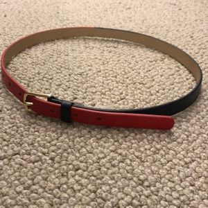 Red/Blue Leather Belt with Gold Buckle